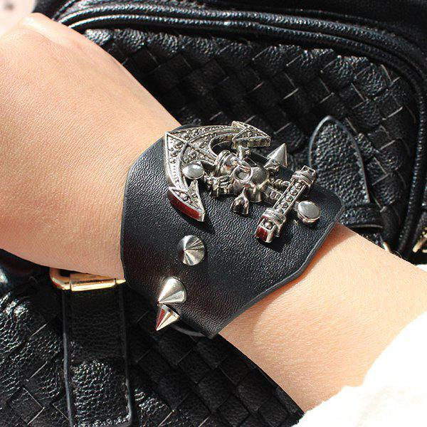 Gothic Style Anchor Shape Rivet Alloy Faux Leather Bracelet For Women - BLACK