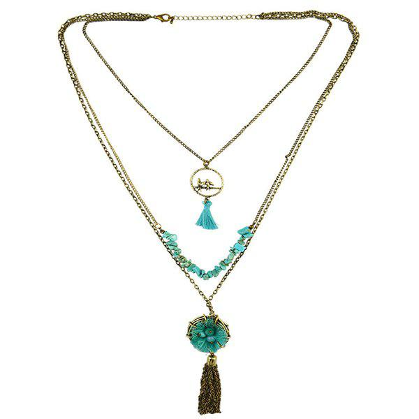 Retro Multilayer Faux Turquoise Bird Nest Tassel Necklace - GREEN