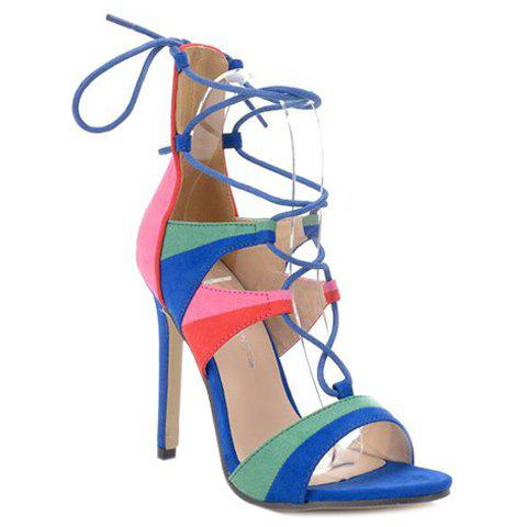 Stylish Cross Straps and Multicolor Design Women's Sandals - COLORMIX 40