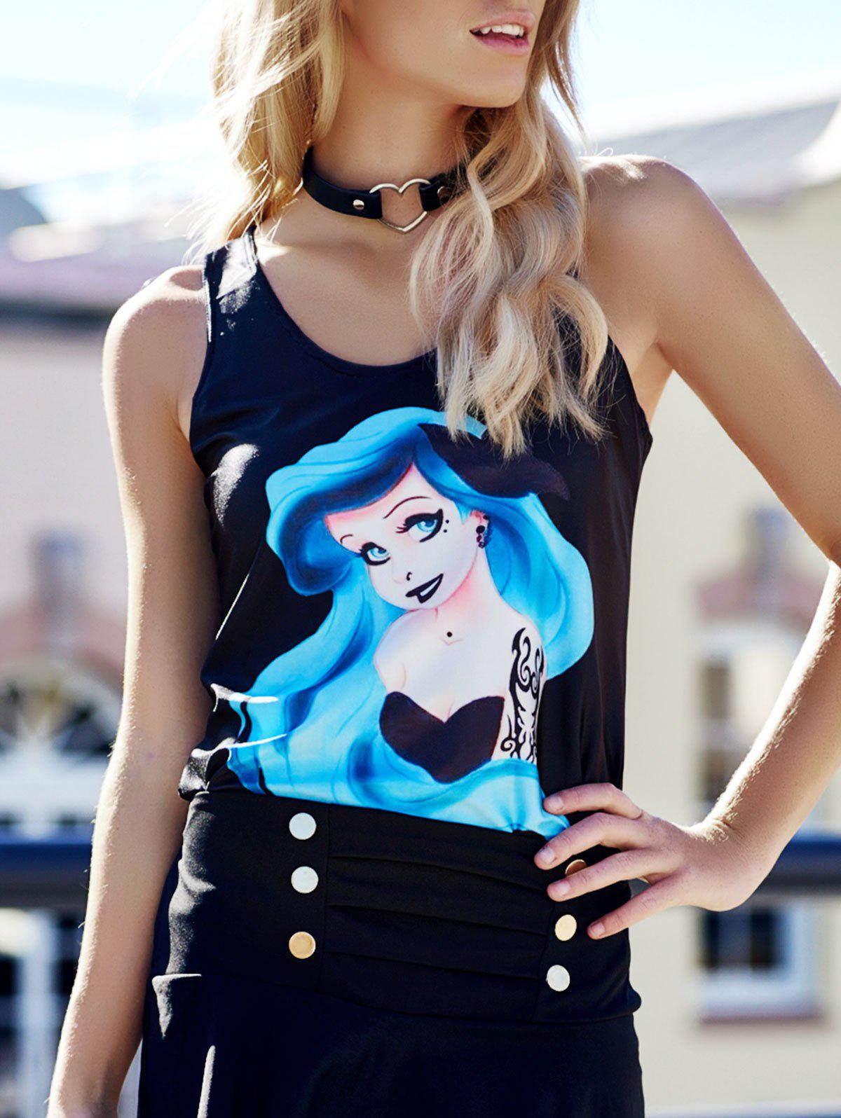 Trippy Girl Print Tank Top For Women - BLACK ONE SIZE(FIT SIZE XS TO M)