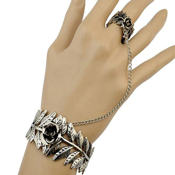 Retro Carving Flower Leaf Bracelet with Ring - SILVER