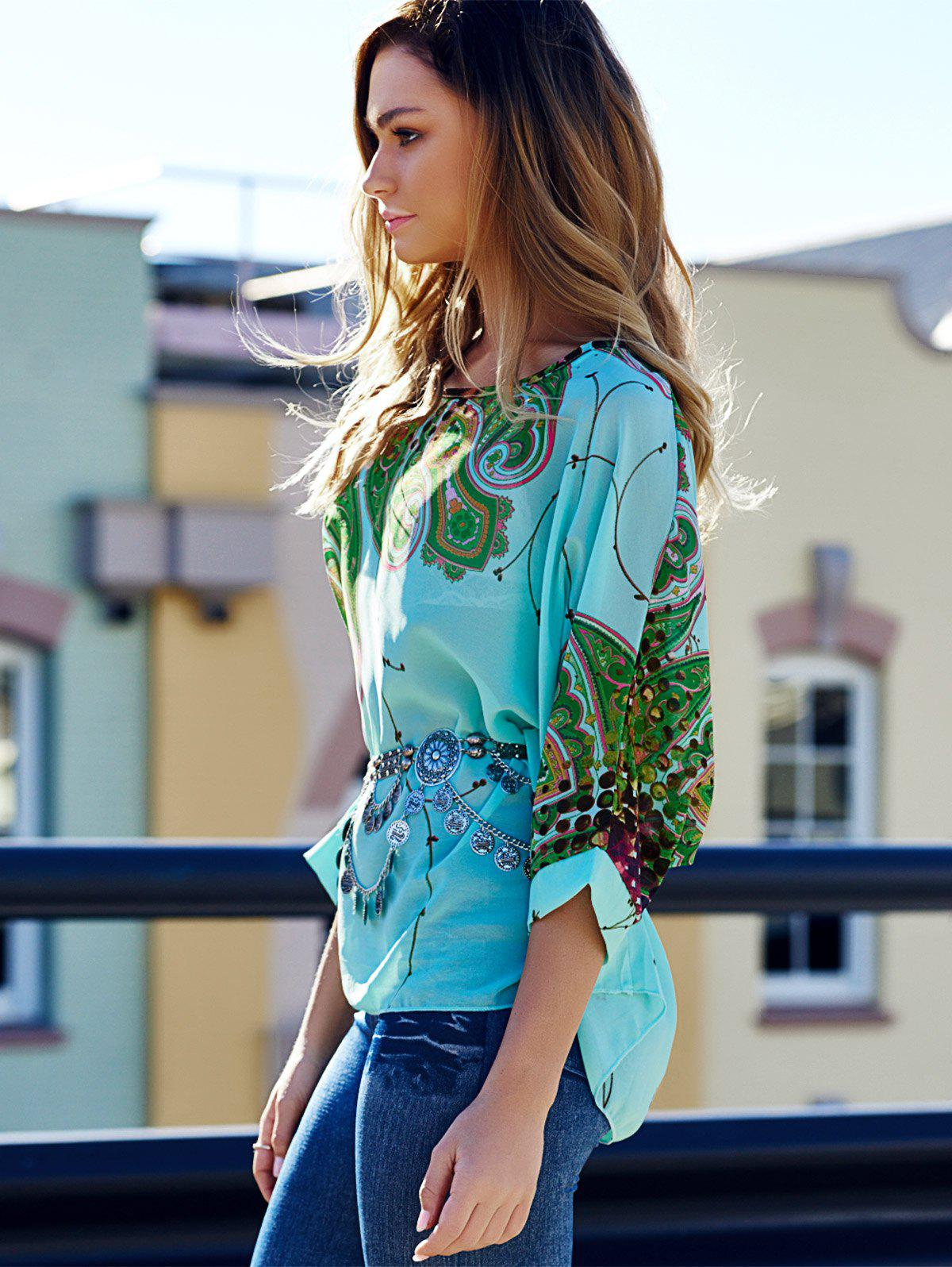 Scoop Neck Batwing Sleeve Printed Loose-Fitting Blouse For Women - COLORMIX XL