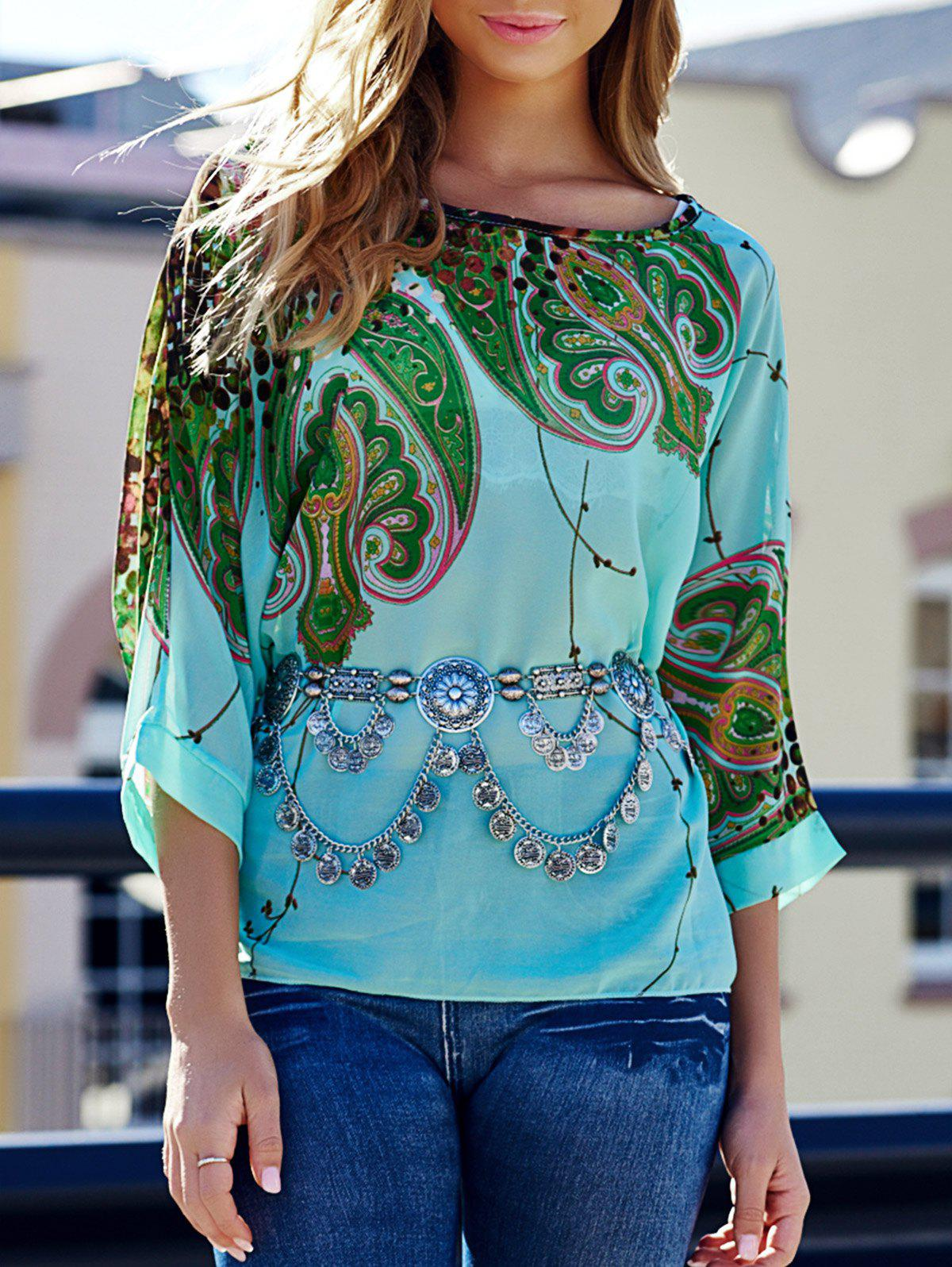 Scoop Neck Batwing Sleeve Printed Loose-Fitting Blouse For Women - COLORMIX L