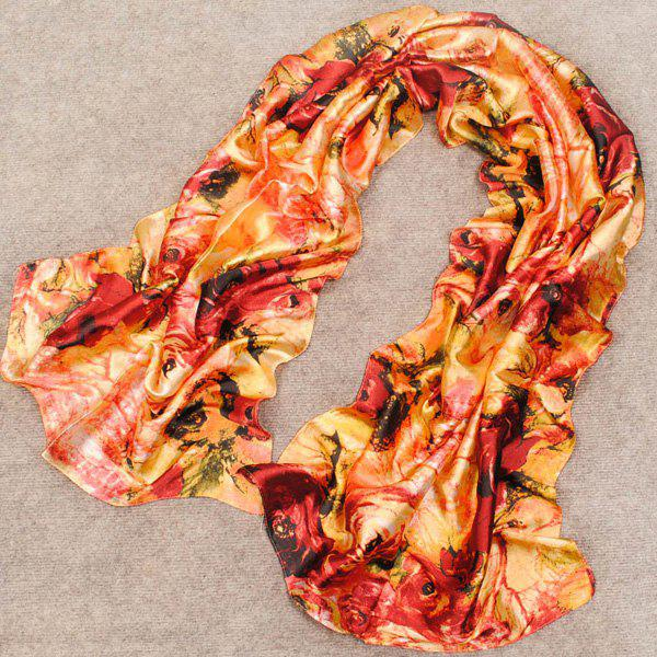 Chic Handpainted Roses Pattern Retro Style Women's Silky Scarf