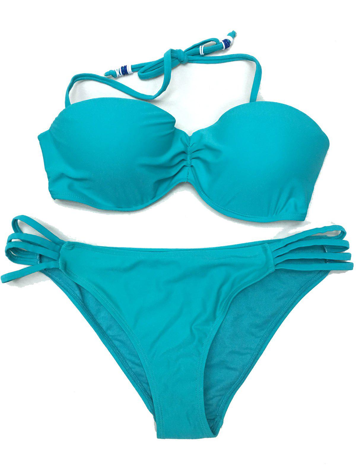 Stylish Solid Color Beads Embellished Halter Women's Bikini Set