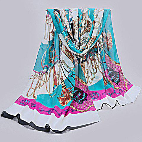 Chic Retro Palace Style Chain Pattern Women's Chiffon Scarf - LAKE BLUE
