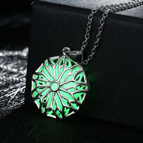 Hollow Out Retro Carve Luminescent Faux Gem Necklace - LUMINOUS GREEN
