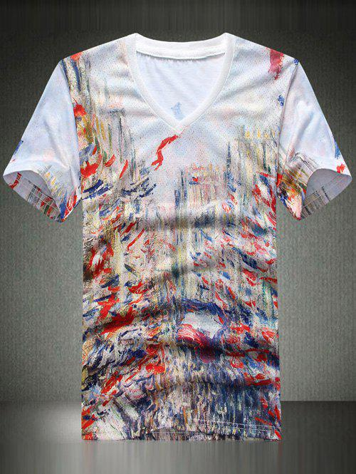 Casual V-Neck Printing Men's T-Shirt - COLORFUL 3XL