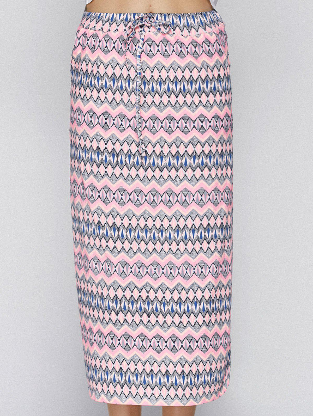 Trendy High Waist Drawstring Tribal Print Women's Midi Skirt - PINK ONE SIZE(FIT SIZE XS TO M)