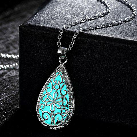 Carve Water Drop Luminescent Faux Gem Necklace - CYAN