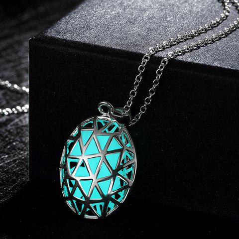 Hollow Out Oval Triangle Carve Luminescent Faux Gem Necklace - CYAN