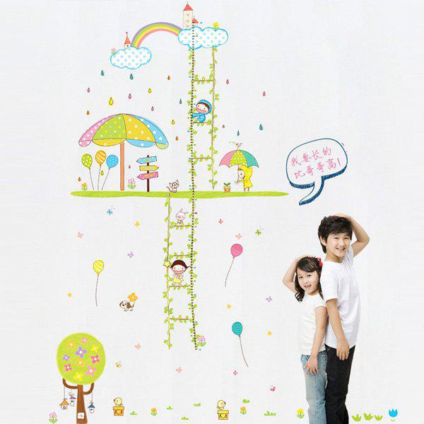 Stylish Vines Ladder Pattern Height Wall Stickers For Children's Bedroom Decoration - COLORMIX