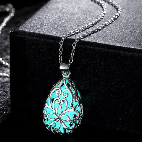Fashion Hollow Out Water Drop Baroque Style Carve Luminescent Faux Gem Necklace