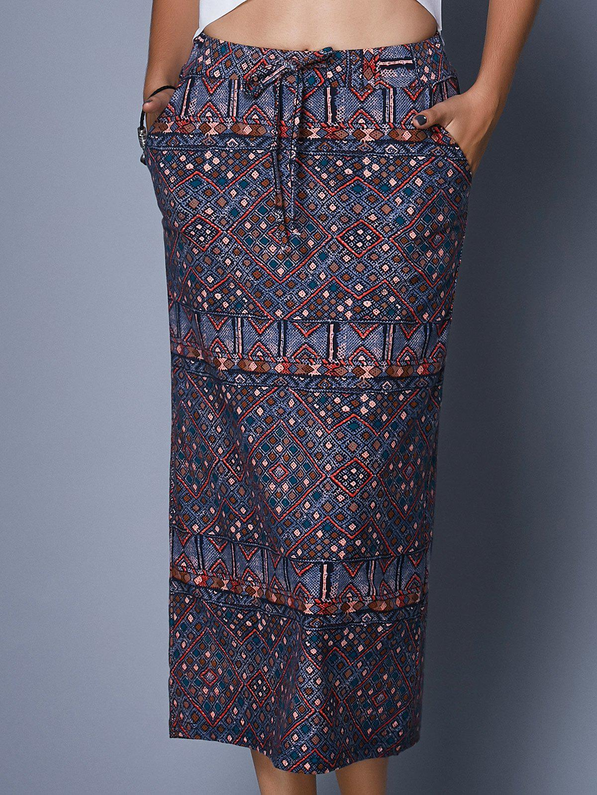 Ethnic Style High Waist Drawstring Tribal Print Women's Midi Skirt - COLORMIX ONE SIZE(FIT SIZE XS TO M)