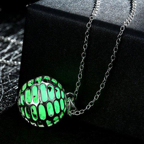 Hollow Out Ball Luminescent Faux Gem Necklace hollow out round faux crystal metal necklace