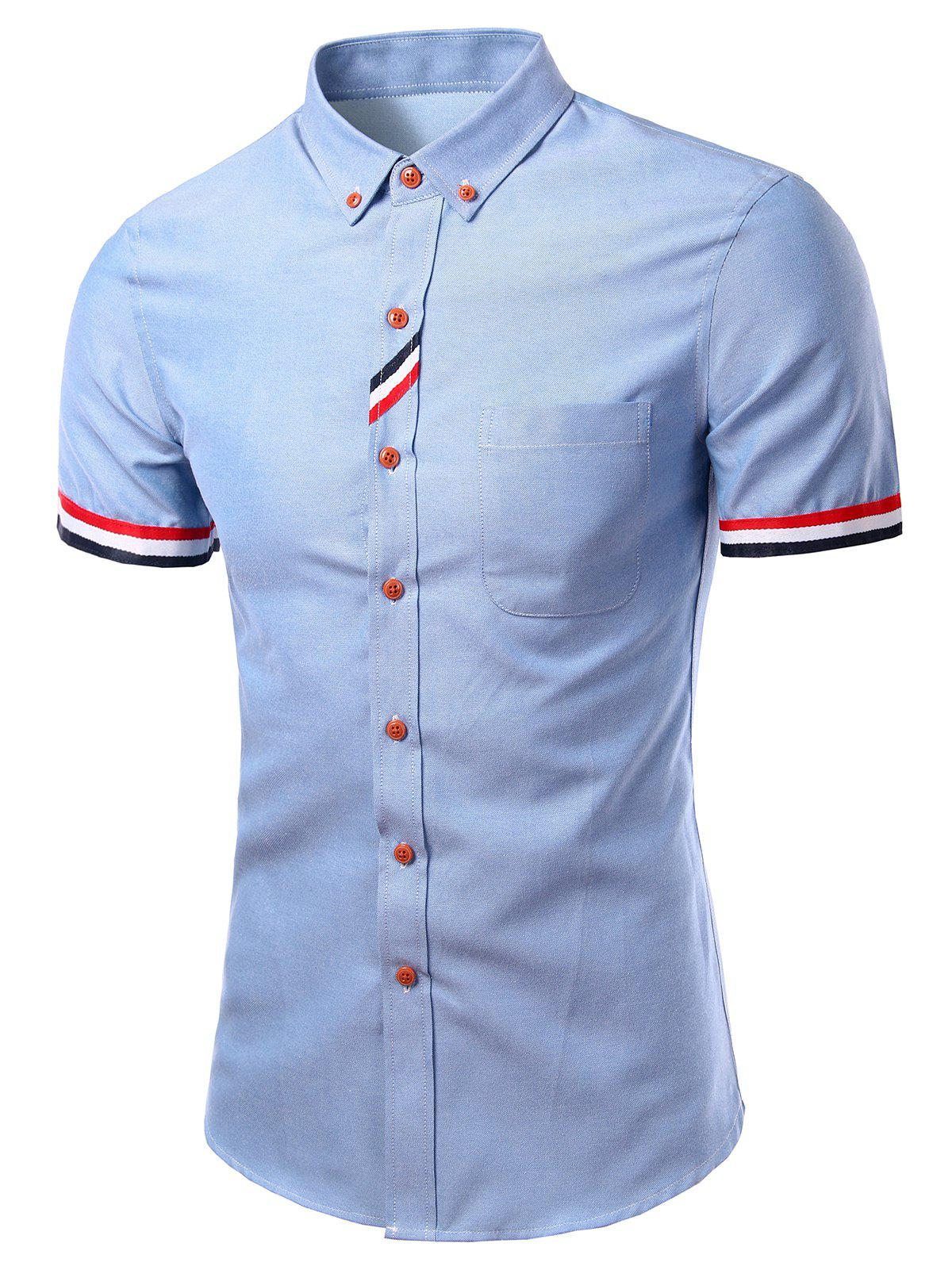 Stylish Turn-Down Collar Striped Short Sleeve Button-Down Shirt For Men
