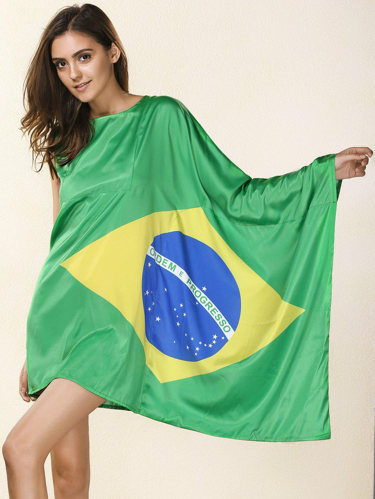 Novelty Round Neck Asymmetrical Brazil Flag Print Women's Dress