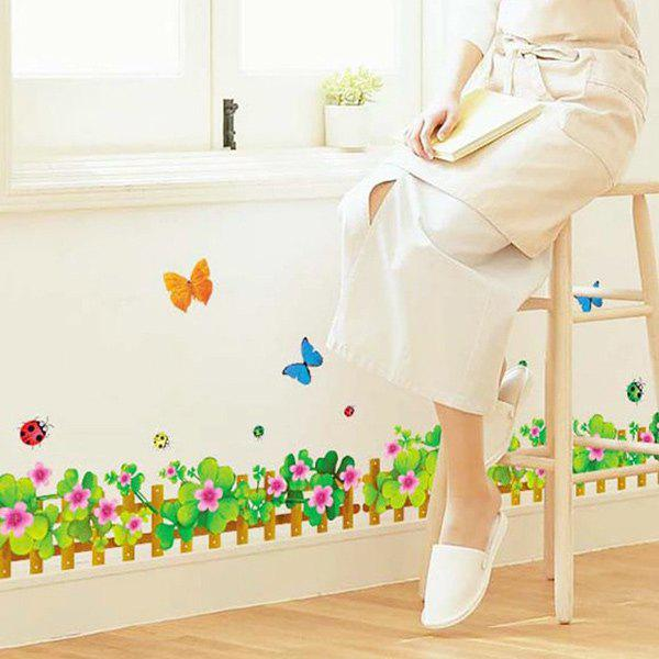 Stylish Flower Fence Pattern Baseboard Wall Sticker For Living Bedroom Decoration