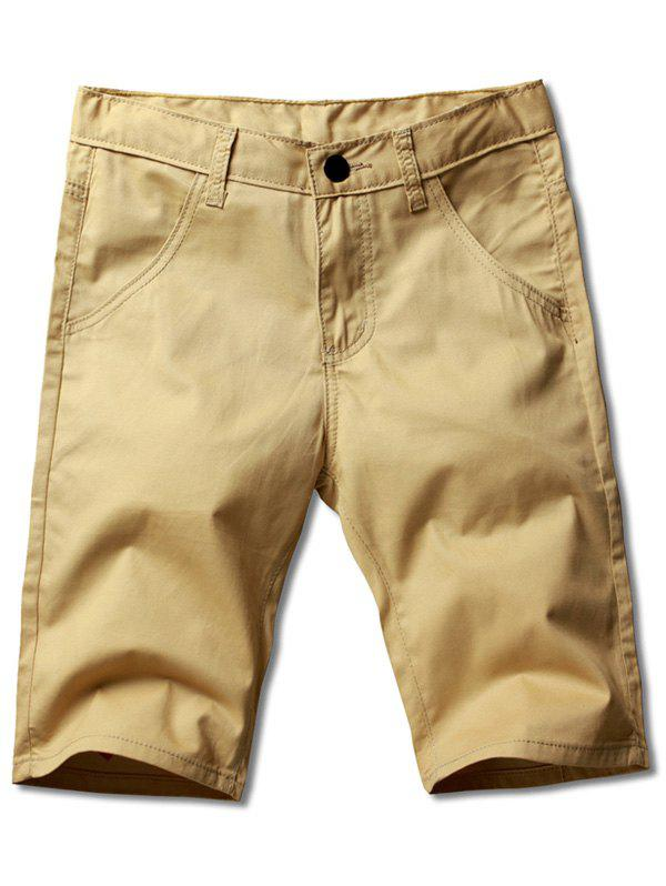 Men's Plus Size Straight Legs Zip Fly Solid Color Shorts - KHAKI 32