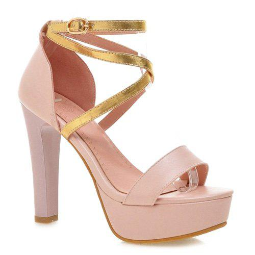 Concise Color Block and Chunky Heel Design Women's Sandals - LIGHT PINK 39