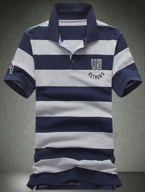 Plus Size Letters Embroidered Stripe Turn-Down Collar Short Sleeve Men's Polo T-Shirt - BLUE L