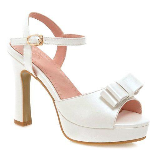 Bowknot Chunky Heel Sandals - WHITE 39