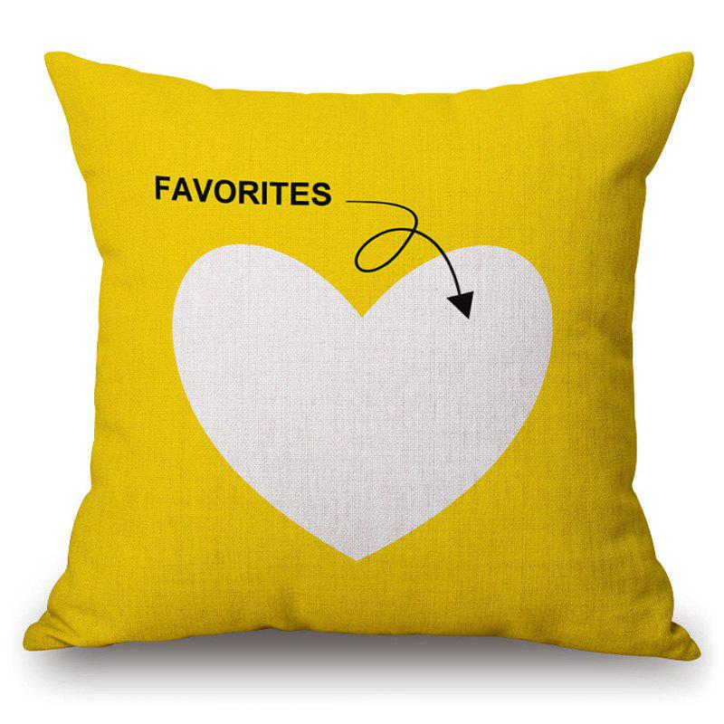 Retro Heart Pattern Square Shape Yellow Pillowcase (Without Pillow Inner) - YELLOW