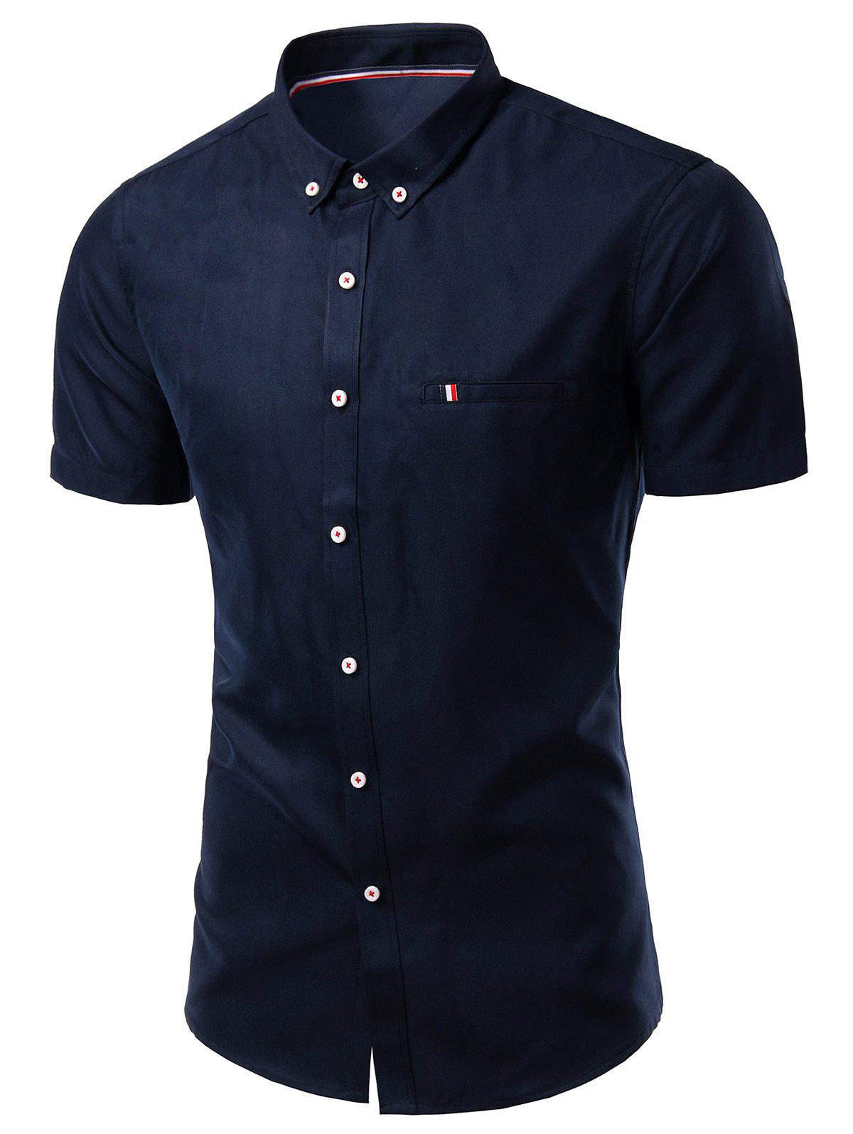 Modish Turn-Down Collar Short Sleeve Men's Button-Down Shirt - CADETBLUE 4XL