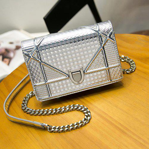 Stylish Chain and Hasp Design Women's Crossbody Bag - SILVER