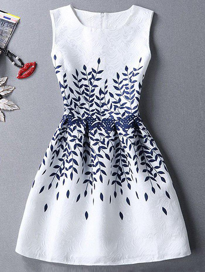 Round Neck Sleeveless Leaves Print Pleated Ladylike Women's Dress