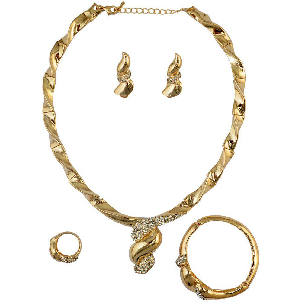 A Suit of Noble Rhinestone Necklace Ring Bracelet and Earrings For Women - GOLDEN ONE-SIZE