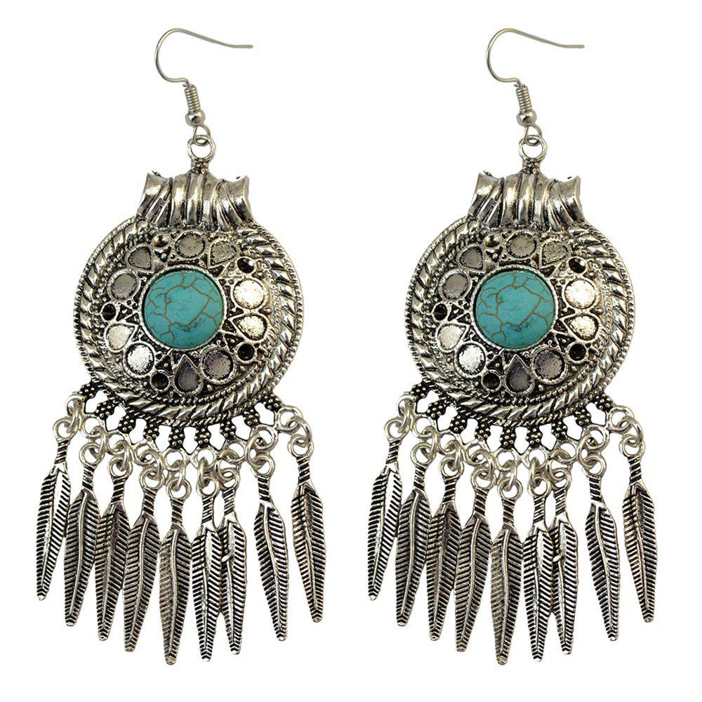 Faux Turquoise Leaf Tassel Drop Earrings - SILVER