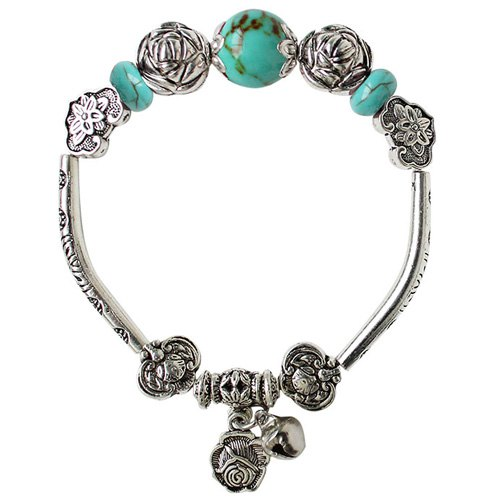 Ancient Style Turquoise Alloy Rose Shape Charm Bracelet - LAKE BLUE