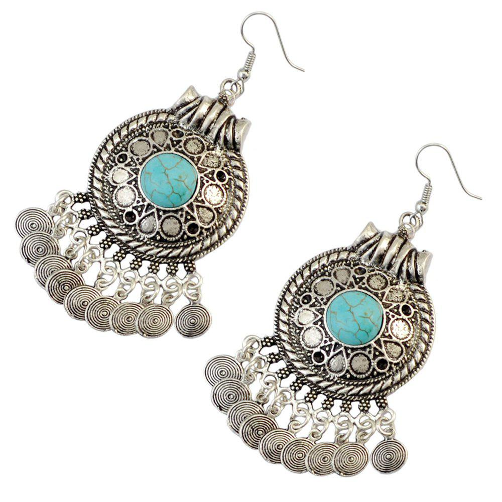 Faux Turquoise Circle Pendant Earrings - SILVER