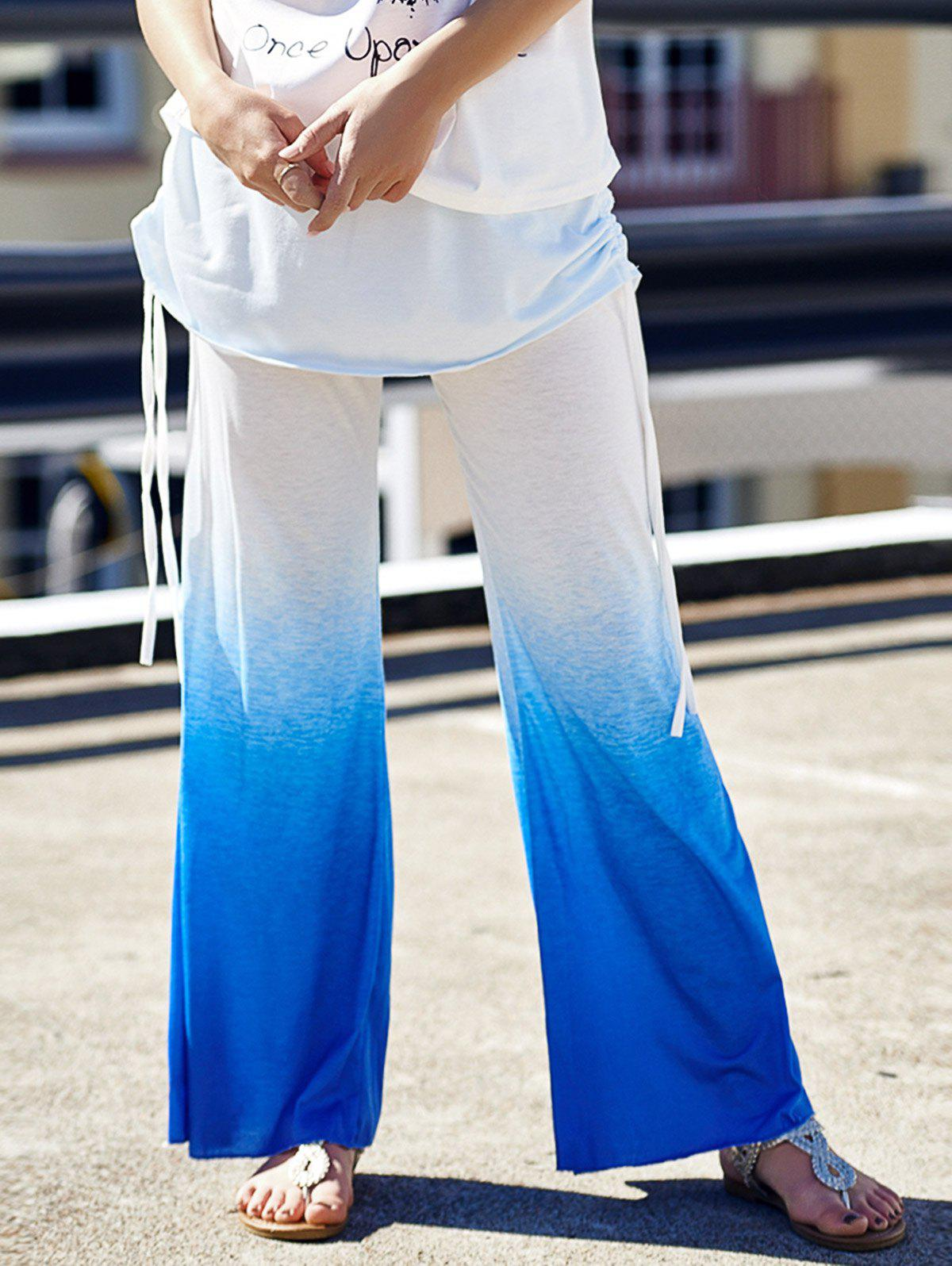 Stylish Elastic Waist Loose Fitting Ruched Ombre Womens PantsWomen<br><br><br>Size: XL<br>Color: BLUE AND WHITE