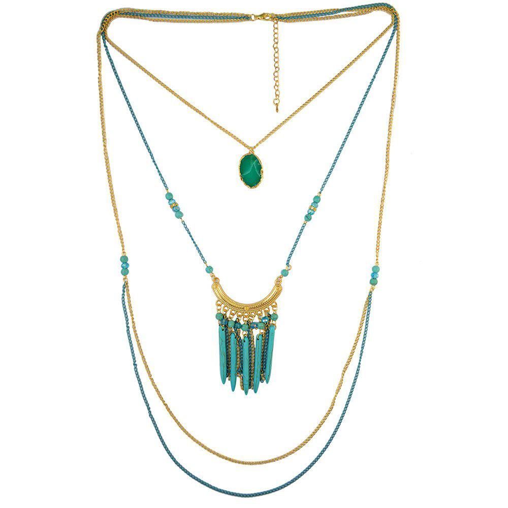 Multilayered Faux Turquoise Sweater Chain - BLUE