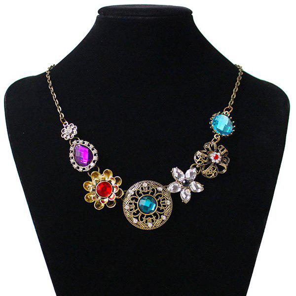Flower Round Water Drop Shape Faux Gem Necklace - COPPER COLOR