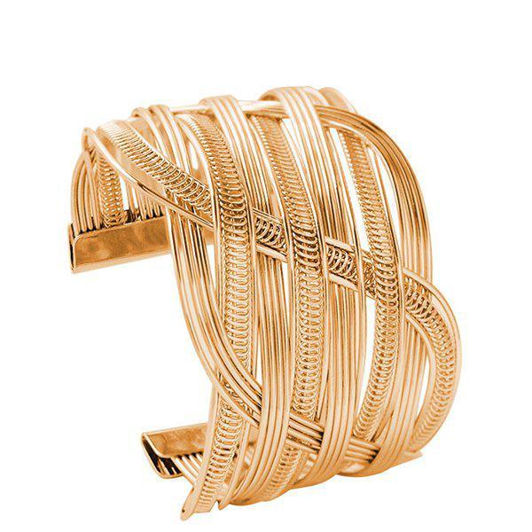 Hollowed Crossed Cuff Bracelet - GOLDEN