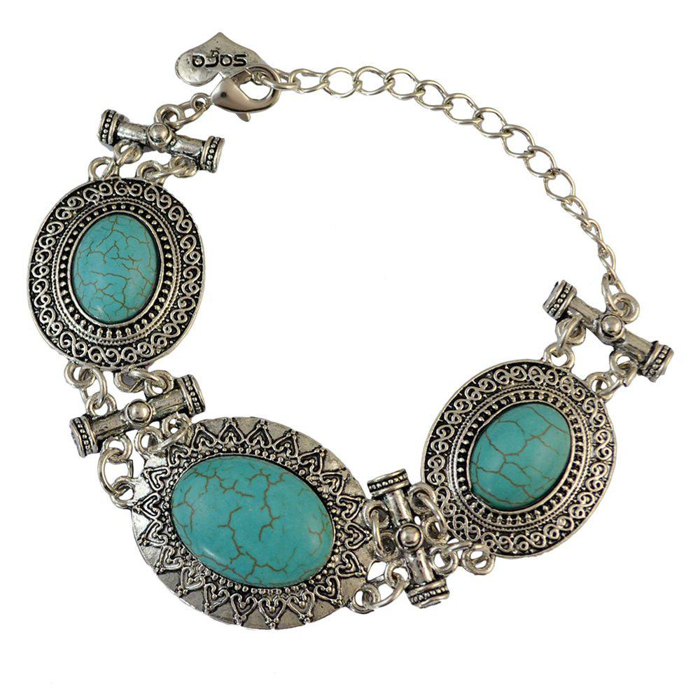 Chic Faux Turquoise Alloy Oval Bracelet For Women