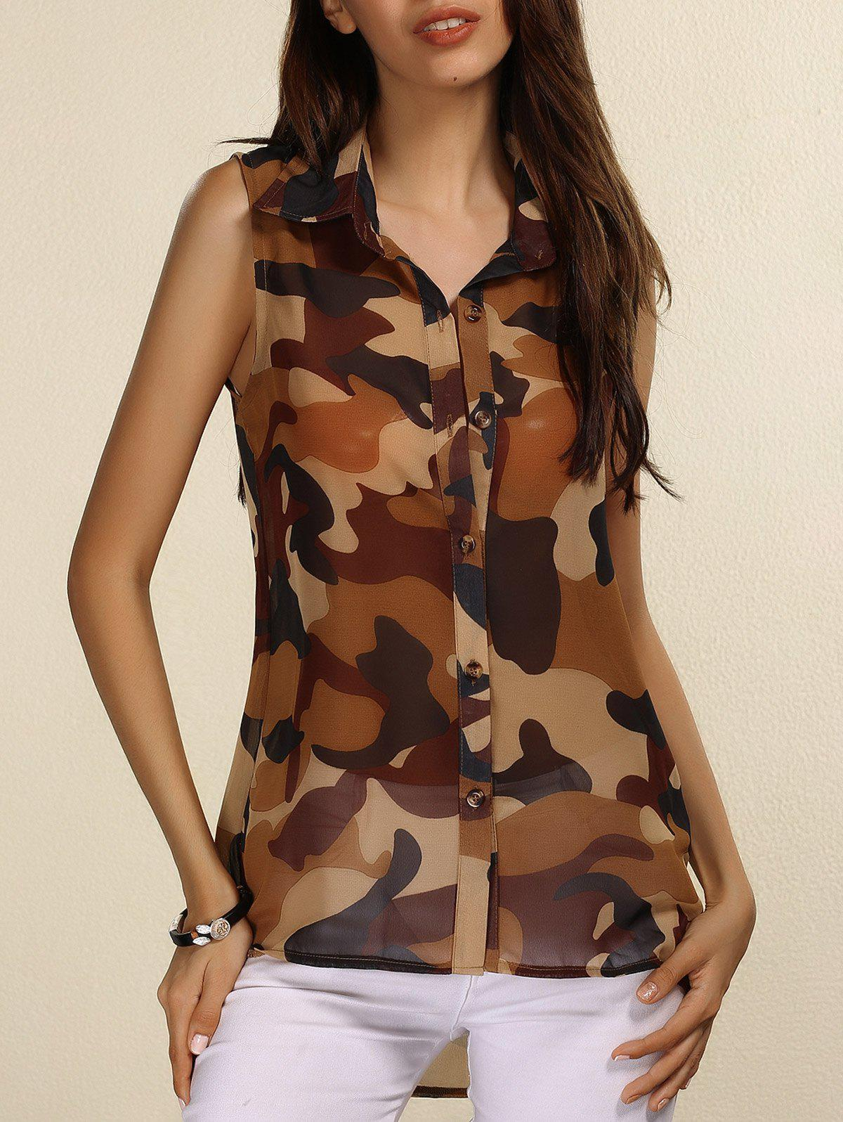 Shirt Collar Sleeveless Camouflage Print See-Through Women's Blouse