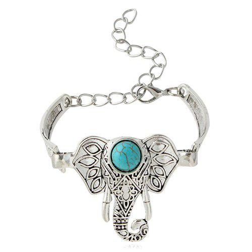 Ethnic Style Elephant Alloy Turquoise Charm Bracelet For Women
