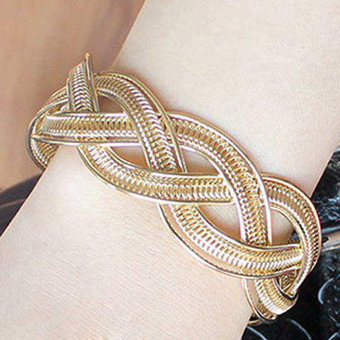 Hollowed Knitted Alloy Cuff Bracelet - GOLDEN