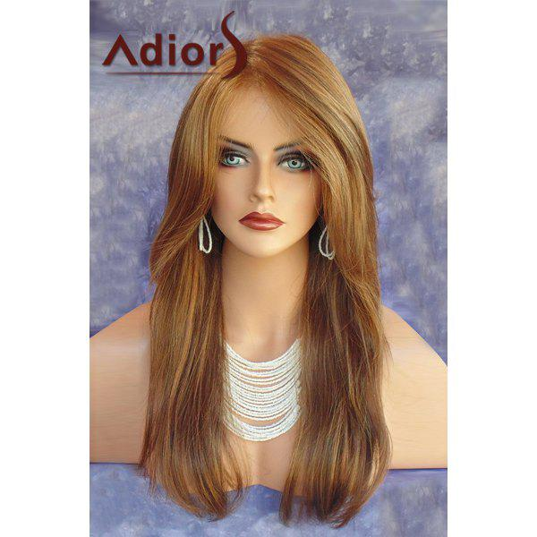 Charming Brown Mixed Side Parting Adiors Long Layered Straight Synthetic Wig For Women - COLORMIX