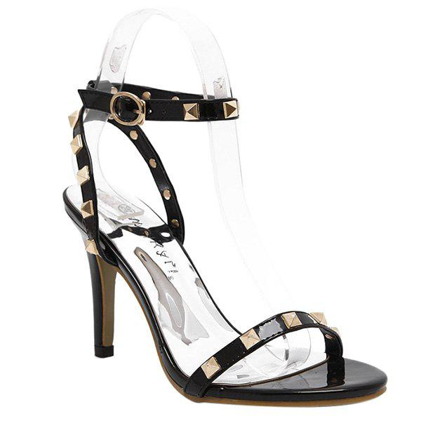 Trendy Rivet and Ankle Strap Design Women's Sandals - BLACK 36