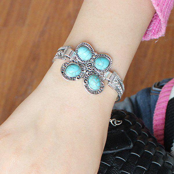 Vintage Butterfly Shape  Turquoise Charm Bracelet For Women