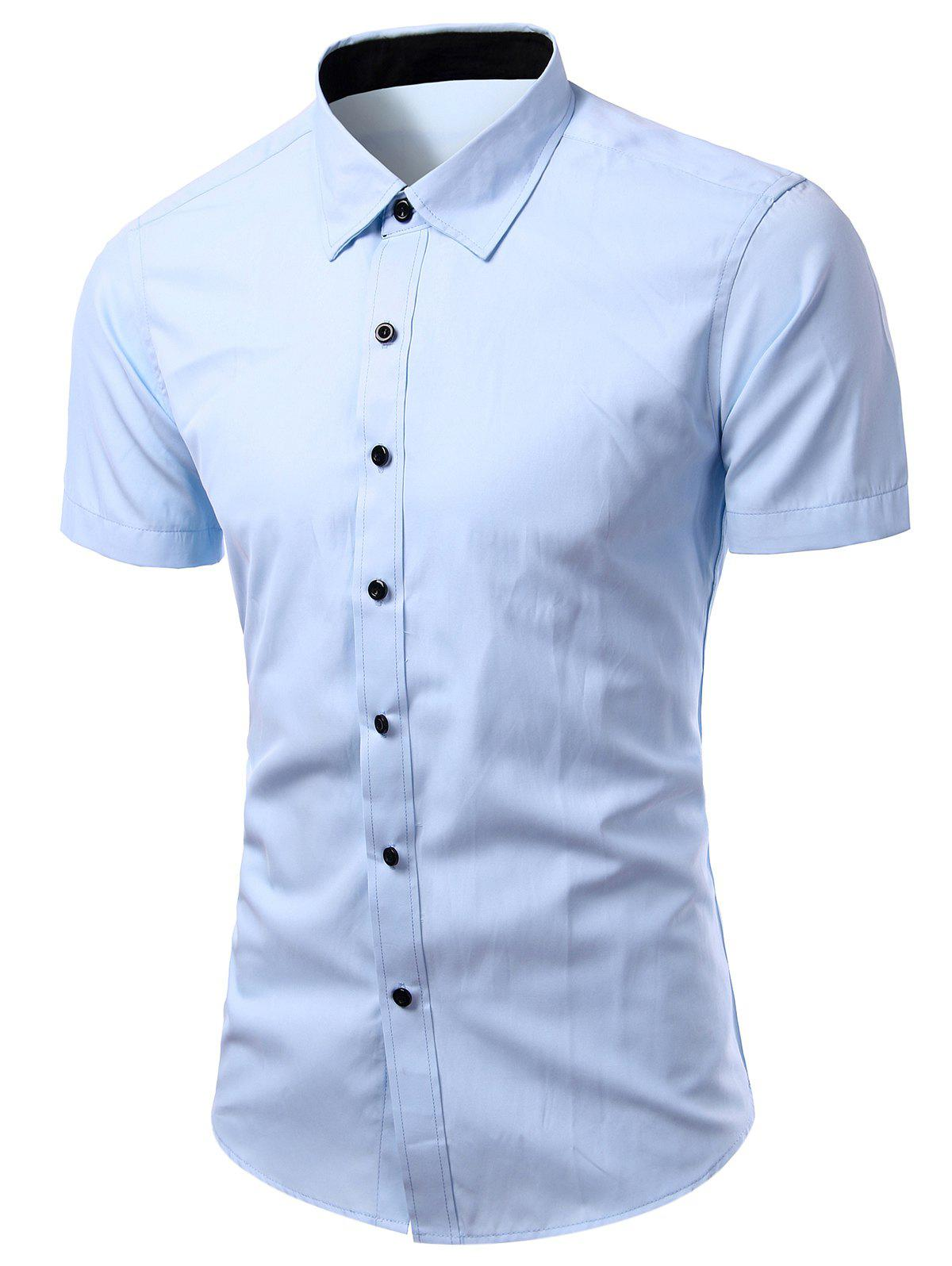 Simple Turn-Down Collar Solid Color Short Sleeve Shirt For Men - LIGHT BLUE 3XL