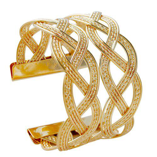 Stylish Multilayer Knitted Braid Alloy Cuff Bracelet For Women