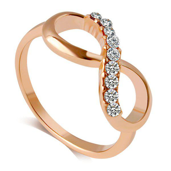 One Piece Eleagnt Infinity Rhinestone Rose Gold Alloy Ring For Women