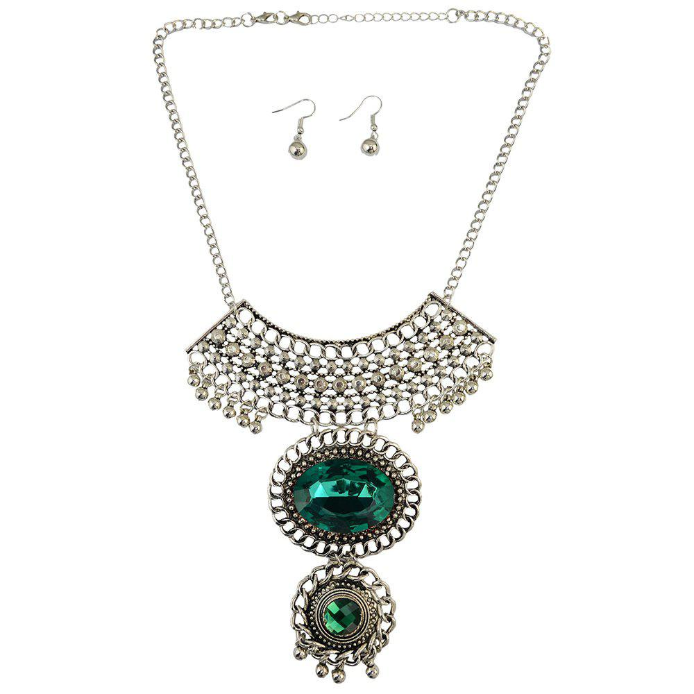 A Suit of Faux Gem Necklace and Earrings - GREEN