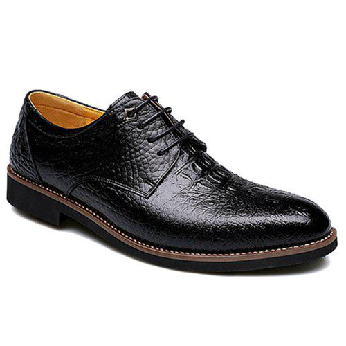 Stylish Crocodile Print and Round Toe Design Men's Formal Shoes - BLACK 42